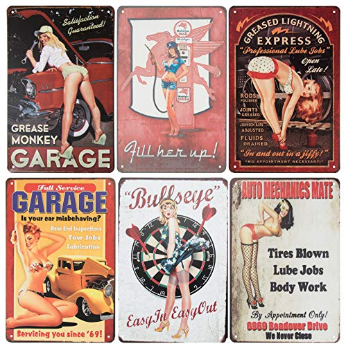 Juvale 6-Piece Tin Signs - Vintage Style Metal Signs As Wall Decor, Decorative Retro Coffee Bar Sign, Pin-up Girls, Sexy Car Garage Ladies, 11.8 x 8 Inches (Decor Metal Sign)