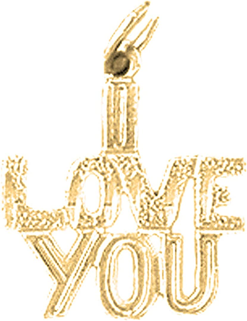 Jewels Obsession 14K Yellow Gold I Love You Pendant 18 mm