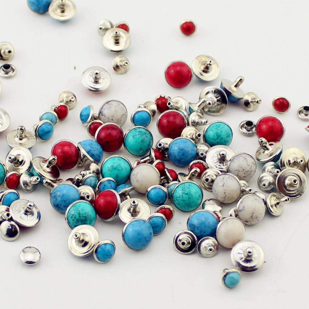 Juego de 100 remaches de lat/ón y turquesa para tachuelas de cuero y pinchos para ropa accesorio de bricolaje para ropa