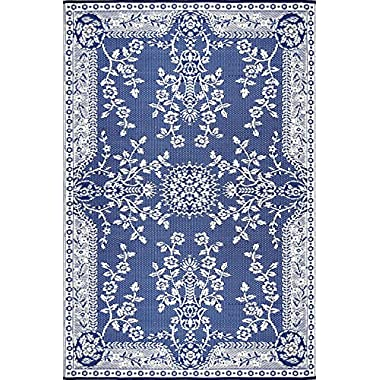 Mad Mats® Garland Indoor/Outdoor Floor Mat, 6 by 9-Feet, Blue and White