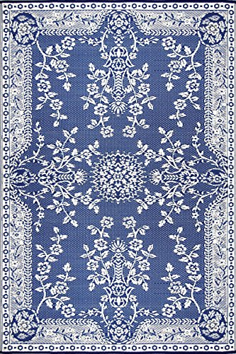 Country White Rug - Mad Mats Garland Indoor/Outdoor Floor Mat, 6 by 9-Feet, Blue and White