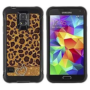 "Hypernova Defender Series TPU protection Cas Case Coque pour Samsung Galaxy S5 V [Leopard Patrón Corazón animal Piel""]"