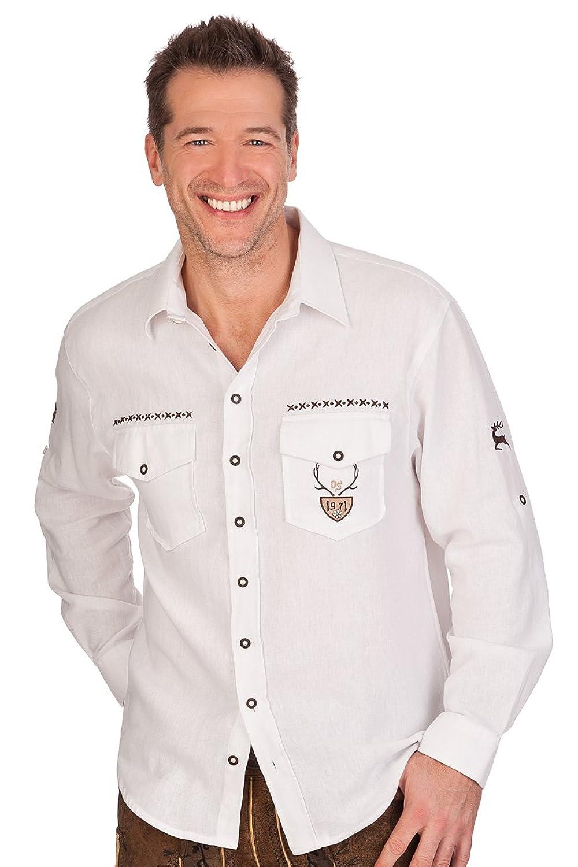 H1413 - Trachtenhemd mit Krempelarm - weiß