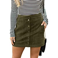 Meyeeka Women's Button Front Faux Suede High Waist A-line Mini Skirt with Pocket