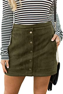 75d1b9925 Meyeeka Women's Button Front Faux Suede High Waist A-line Mini Skirt with  Pocket