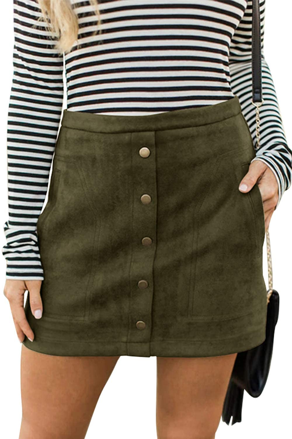1a534a6cf Meyeeka Women's Button Front Faux Suede High Waist A-line Mini Skirt with  Pocket at Amazon Women's Clothing store: