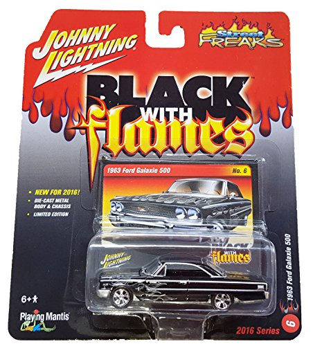 (Johnny Lightning - 2016 Street Freaks / Black With Flames - 1963 Ford Galaxie 500 No. 6)