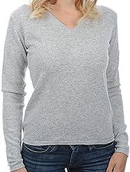 03fdec481d335f Balldiri 100% Cashmere Kaschmir Damen Pullover 2-fädig V-Ausschnitt hellgrau