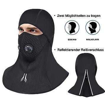 Fahrradbekleidung RockBros Fahrrad Sturmhaube Gesichtsmaske mit Halswärmer Winddicht Schwarz