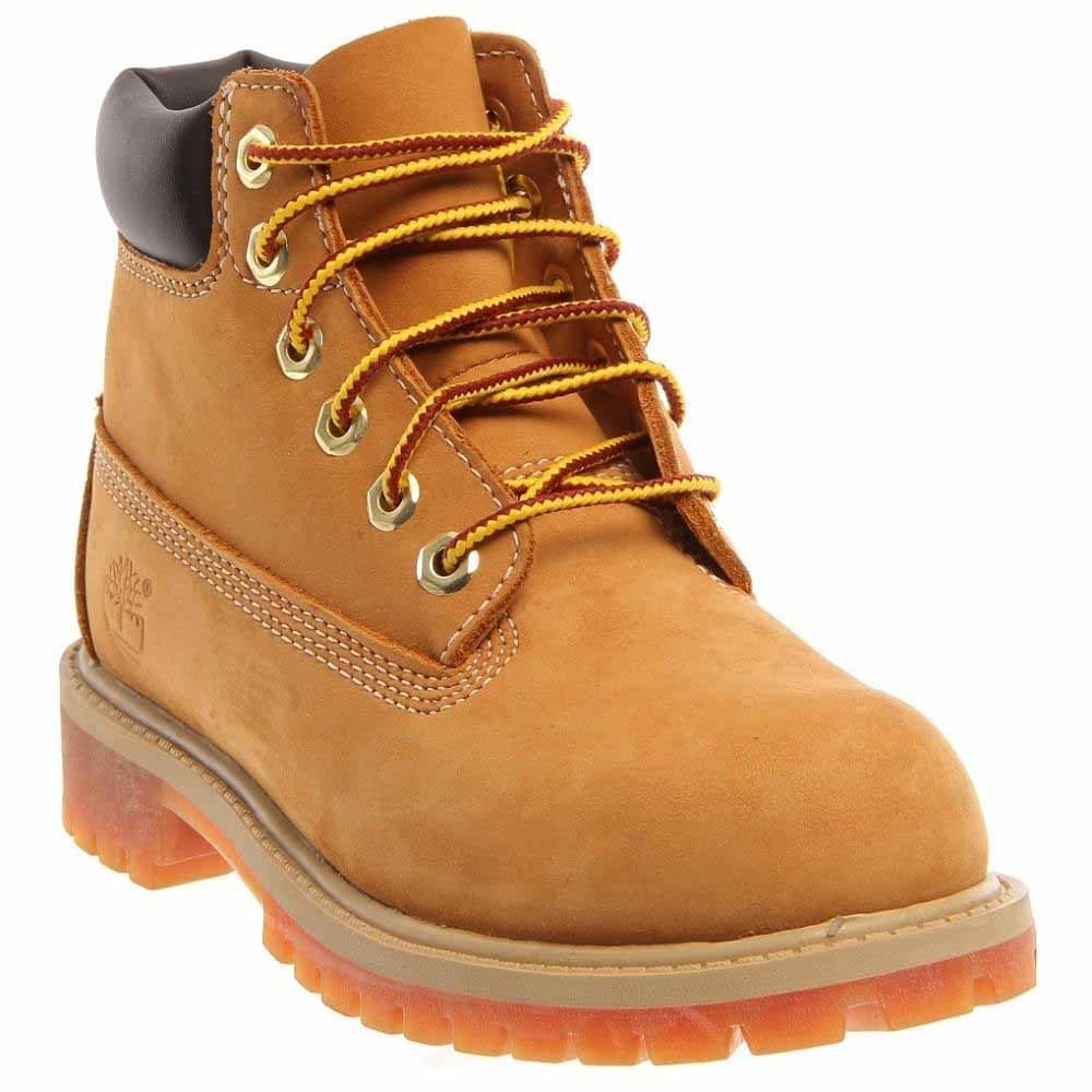 Timberland unisex-child 6'' Classic Boot 6'' Premium Waterproof Boot Wheat Nubuck All Leather 13.5M by Timberland