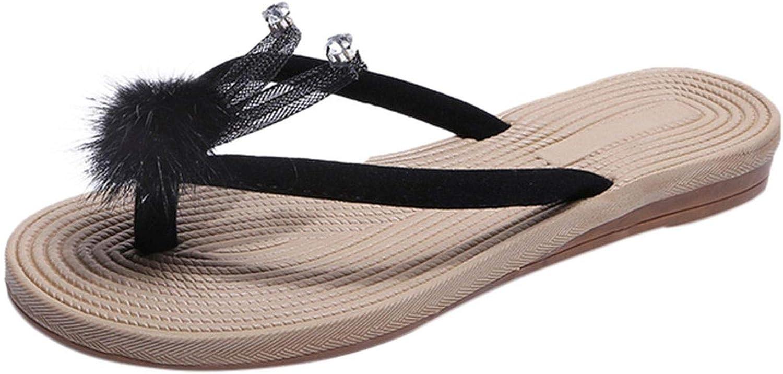 Women Flip Flops Cute Rabbit Decoration Summer Slippers Ladies Crystal Cartoon Flip Flops Slippers Beach Sandals Shoes,Beige,5