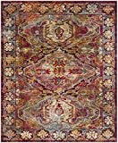 Safavieh Crystal Collection CRS516B Fuchsia Pink and Light Blue Distressed Bohemian Area Rug (8' x 10')