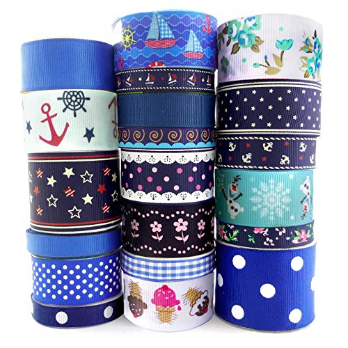 Smart Buy Grosgrain Ribbon for Craft Blue Cartoon Theme Mixed Colors 20 Yards Contains 20 Different 1 Yard Ribbon