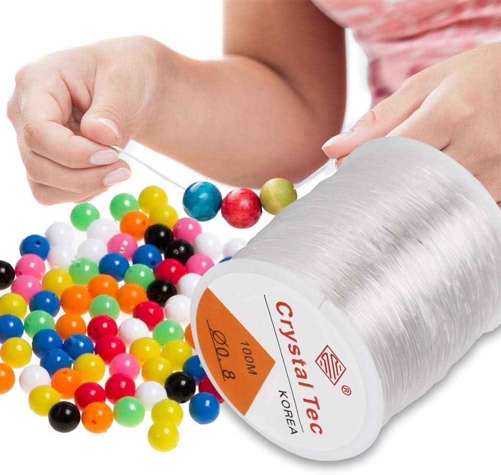 Hilo de Cuentas para Hacer Joyas, ARPDJK 0.8mm Cord Clear Bracelet Elastic para Colgar Decoraciones, String Elástico Fuerte y Elástico para Pulseras