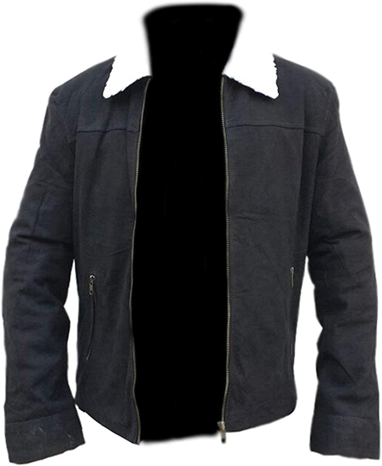 Mens TWD Rick Grimes Black Sherpa Collar Suede Leather Jacket XXS to 3XL