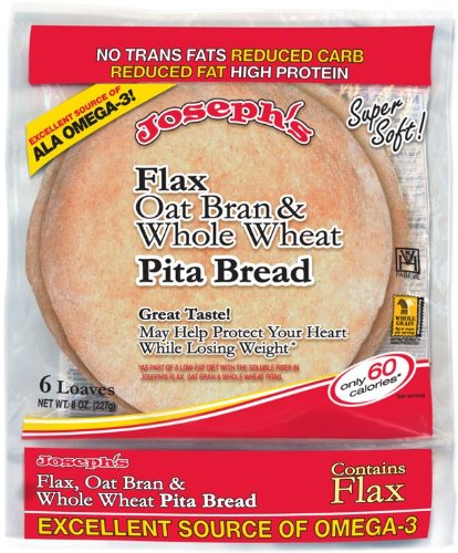 Price comparison product image Joseph's Flax, Oat Bran and Whole Wheat Flour Pita Bread 6 loaves (8 oz)