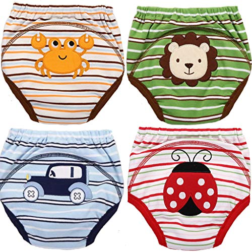 4 MOM & BAB Potty Training Pants/ 4 Layered Underwear for Toddlers | Washable & Resuable | Soft Cotton | Comfortable Fit for Your Baby (Medium)