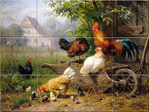 Tile Mural Farm rooster chickens by Carl Jutz Kitchen Bathroom Shower Wall Backsplash Splashback 12 0f 4.25