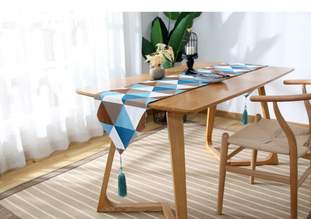 Twill Runners, Table Runners Bandera de mesa simple del país estadounidense, paño de polvo cubierta de triángulo geométrico, 33 * 120 CM