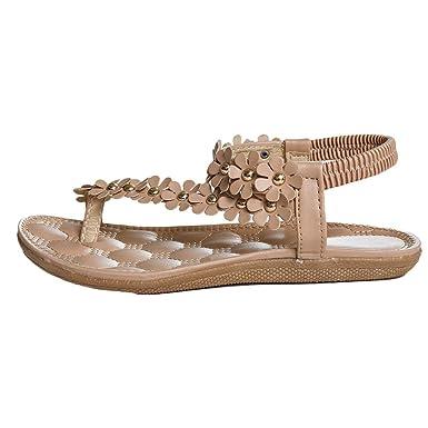 Elecenty Damen Sandalen Schuhe Böhmen Schuh Sommerschuhe Bequeme Frauen Zehentrenner Sandaletten T-Strap Flats Keilabsatz Solide Offene Sandalen Weich Flache Peep-Toe Badeschuhe (36, Khaki)