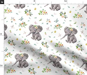 Spoonflower Fabric - Spring Time Baby Elephant Girl Boho Nursery Floral Printed on Petal Signature Cotton Fabric by The Yard - Sewing Quilting Apparel Crafts Decor