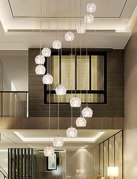 BDS lighting 16 Unids Bolas de Cristal Araña Larga Espiral Multi Luces Luces Colgantes para Escalera Salón Restaurante Chandelier Glass Shade, Tamaño Grande, 50x200cm (Color : Luz Blanca cálida): Amazon.es: Hogar