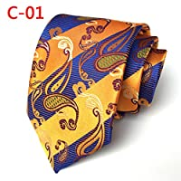 Xiessi Mens Classic Striped Paisley Jacquard Woven Tie Microfiber Formal Necktie
