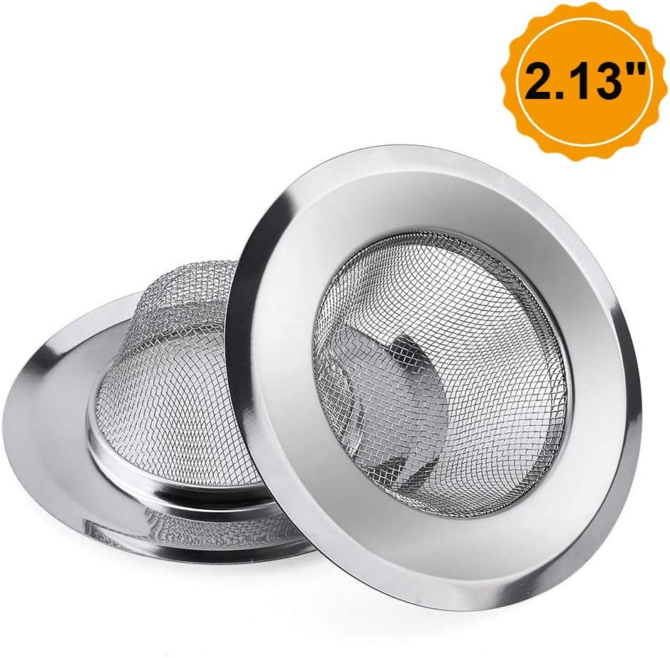 "2 Pack - Sink Strainer Bathroom Sink, Utility, Slop, Laundry, RV and Lavatory Sink Drain Strainer Hair Catcher. 1/16"" Holes. Stainless Steel"