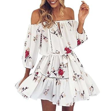 OHQ Robe ImpriméE pour Femme Blanc Womens Summer Off éPaule Floral Print  Sundress Parti Plage Courte 3a1d233c30e