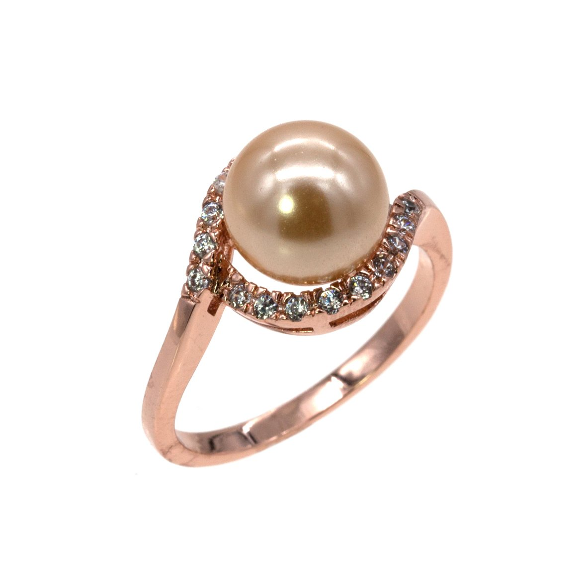 8 mm Pearl Ring AAA CZ Micro Pave Size 5 - 10 Wedding Jewelry (Rose Gold, 7)