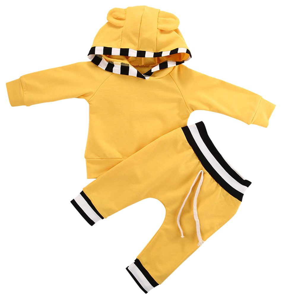 SCFEL Neugeborene 2 Stück Kleidung Set Baby Jungen Mädchen Gelbe Streifen lange ärmel Niedliche Ohr Hoodies Tops + Hose Outfits