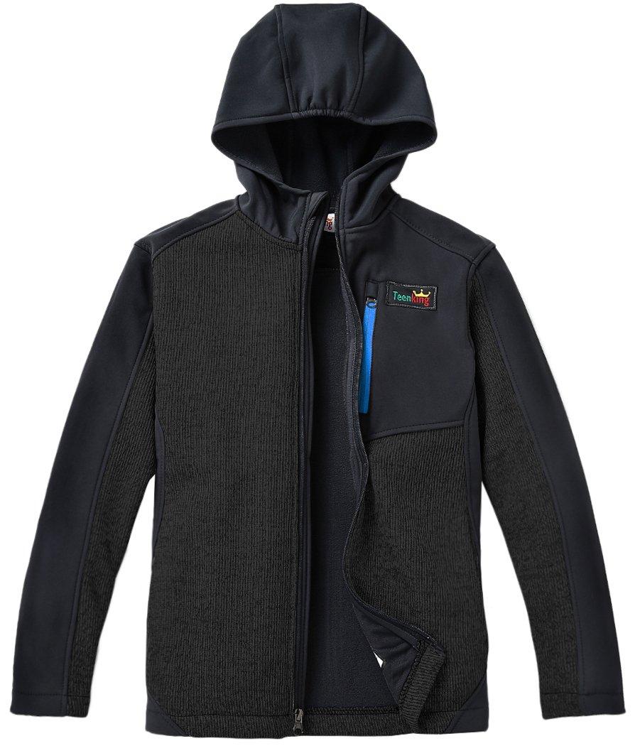 Teenking Boy's Fleece Outdoor Jacket with Hood Little Boy(Size 5/6)