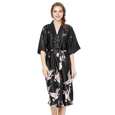 a047fc3310 Sleep Dress Loungewear Women Kimono Robes Long Length Crane Printed Robe  Black US S