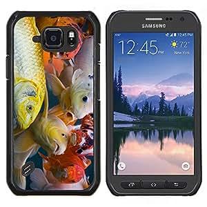 TECHCASE---Cubierta de la caja de protección para la piel dura ** Samsung Galaxy S6 Active G890A ** --Colorido pescados de Koi