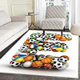 Letter E Area Rug Carpet ABC of Sports Concept Different Gaming Balls First Name Initial Monogram Design Living Dining Room Bedroom Hallway Office Carpet 3'x5' Multicolor