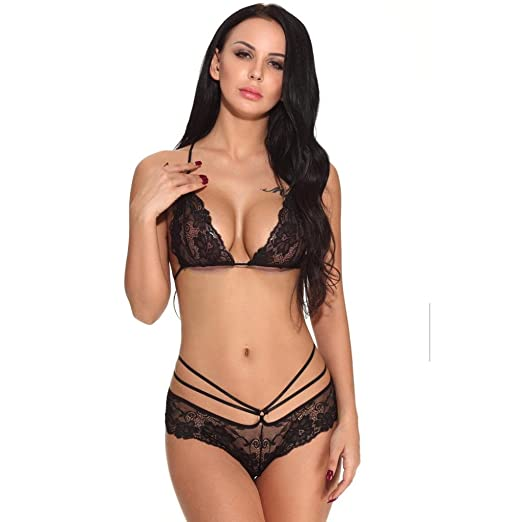 ac64dfe058 ManxiVoo Women Babydoll G-String Underwear Ladies Delicate Lace Bralette  and Thong Lingerie Set (