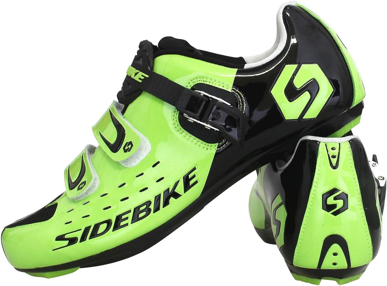 SIDEBIKE Chaussures de Cyclisme avec P/édale /& Fixation Chaussures de V/élo sur Route R/églables pour Adultes Chaussures Antid/érapantes Respirantes en Nylon et Cuir Synth/étique