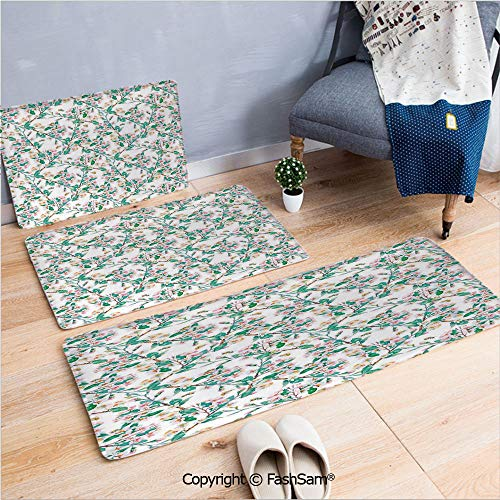 FashSam 3 Piece Flannel Bath Carpet Non Slip Pink Cherry Blossoms Pattern with Bumble Bees Japanese Spring Themed Chic Print Front Door Mats Rugs for Home(W15.7xL23.6 by W19.6xL31.5 by W35.4xL62.9)