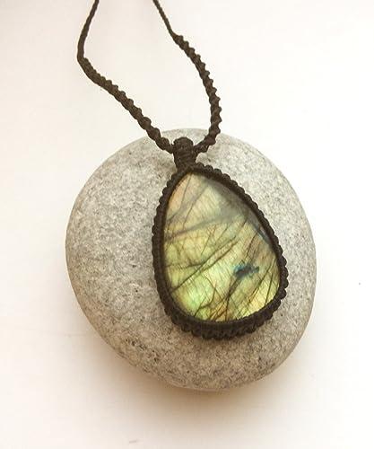 Handmade Jewelry for healing Healing Jewelry Boho,Hippie style Labradorite Rectangle Blue Fire Macrame Necklace with healing effect