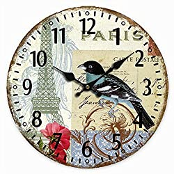 Telisha Wooden Wall Clock Paris French Eiffel Tower Blue Bird Clock Retro Vintage Large Clock Home Decorative Country Non -Ticking Silent Quiet 14 Inch Gift