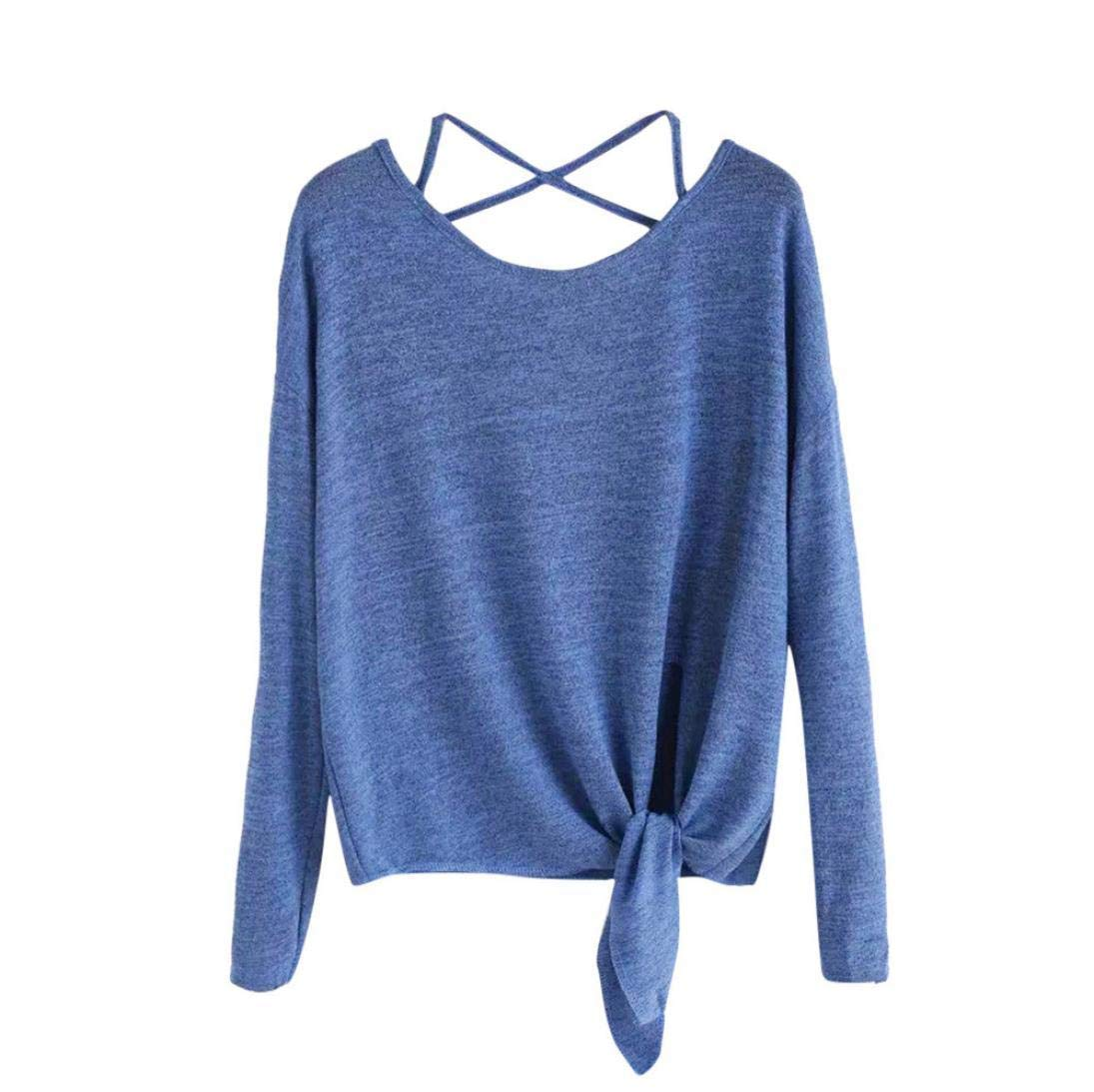 Clearance! Dressin Women's Daily Casual Crow Tied Up Long Sleeve Soild Fasion Tops Blouse T-Shirt Dressin 0814