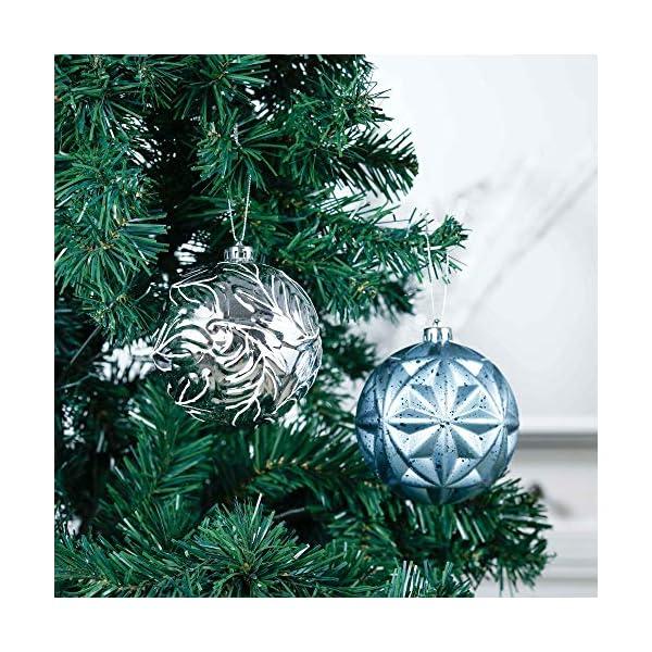 Valery Madelyn Palle di Natale 9 Pezzi 10cm Palle di Natale, Winter Wishes Argento e Blu Infrangibile Palla di Natale Ornamenti Decorazione per la Decorazione Dell'Albero di Natale 5 spesavip