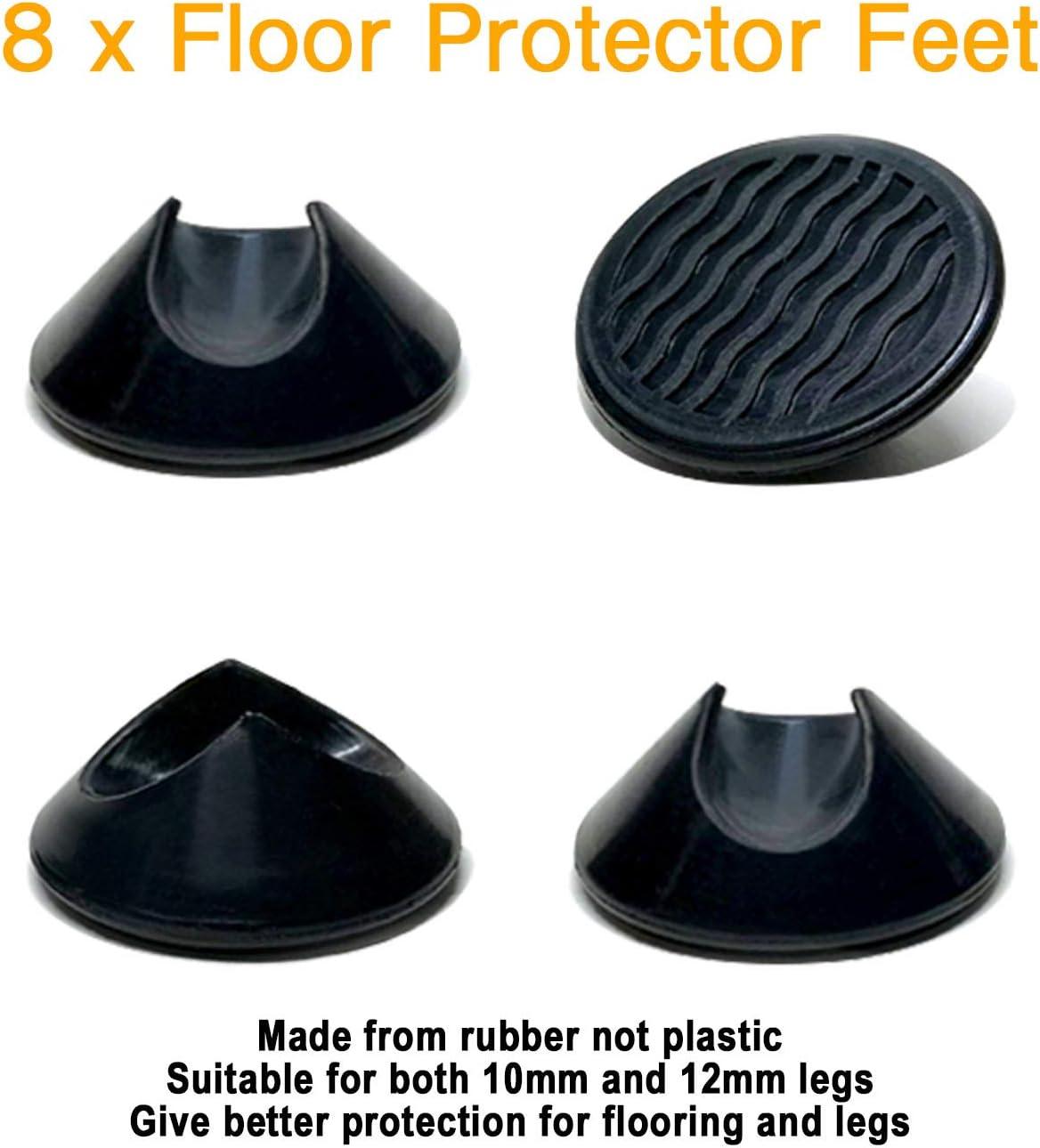 Protectores para patas de horquilla blanco universal para barras de acero de 10 mm y 12 mm deslizadores de goma antideslizantes para suelos duros