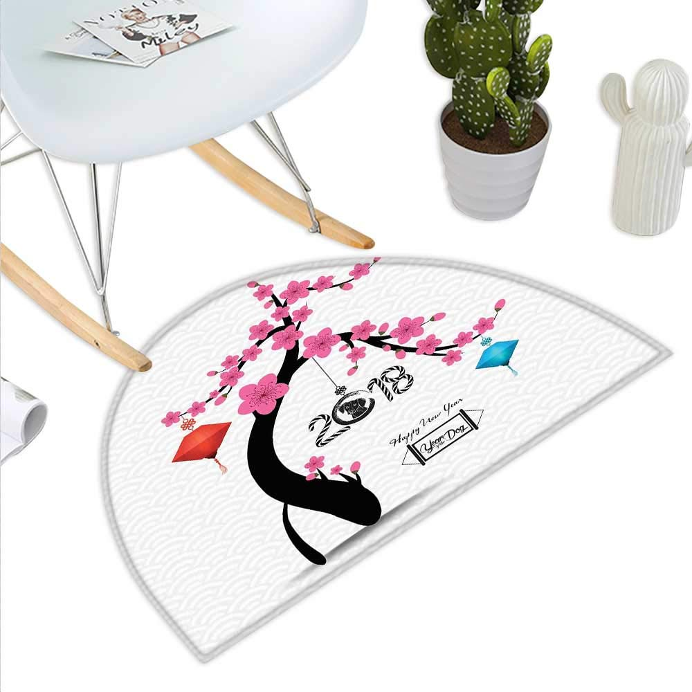 color12 H 19.7  xD 31.5  Year of The Dog Semicircle Doormat Japanese Flourishing Petals with Canine Silhouette on Cloudy Background Halfmoon doormats H 27.5  xD 41.3  Multicolor