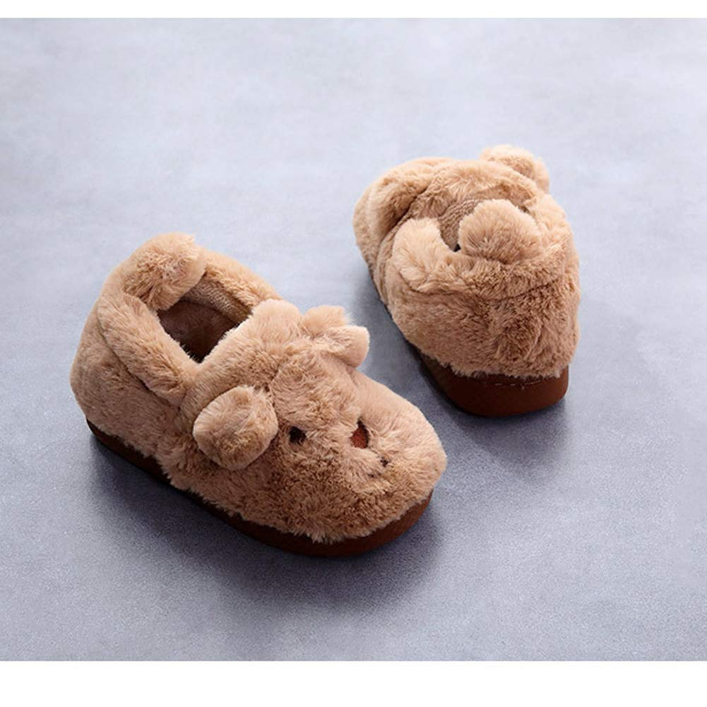 Unisex Toddler Kids Lovely Cartoon Animals Slippers Winter Cozy Fuzzy Anti-Slip House Shoes