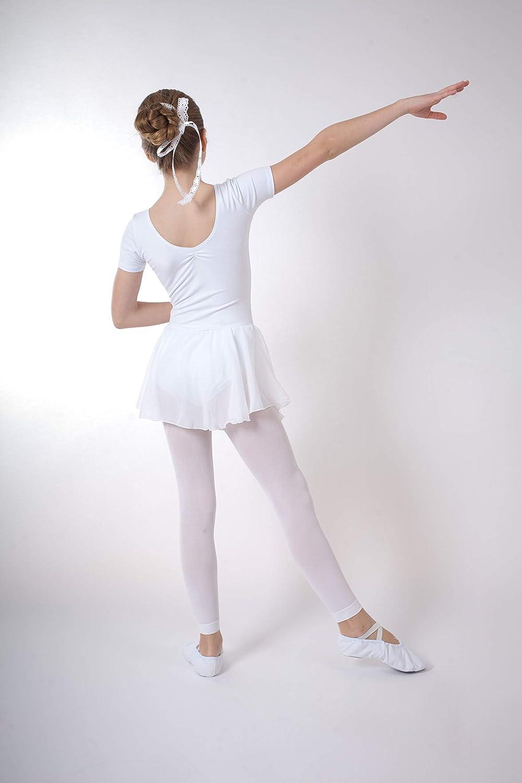 tanzmuster Body da Danza Classica Betty con gonnelino in Chiffon per Bambini in Rosa Borgogna e Lavanda Blu Marino Viola Bianco Celeste Fucsia Nero