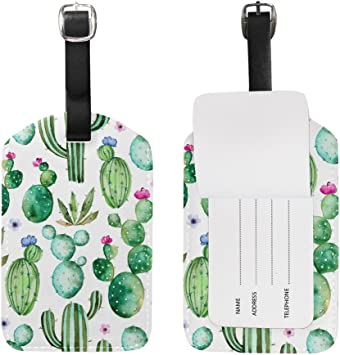 Cactus Flowers Luggage Tag Label Travel Bag Label With Privacy Cover Luggage Tag Leather Personalized Suitcase Tag Travel Accessories