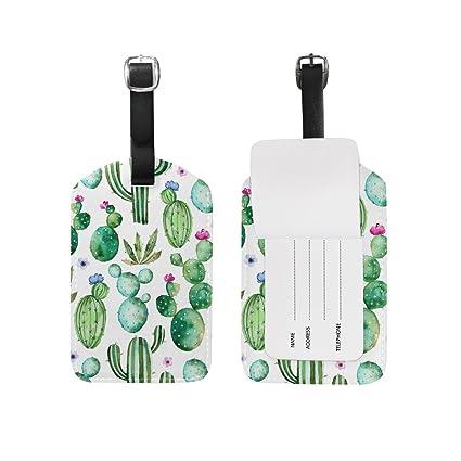 8fee690ae1e0 Amazon.com | Use4 Cactus Watercolor Luggage Tags Travel ID Bag Tag ...