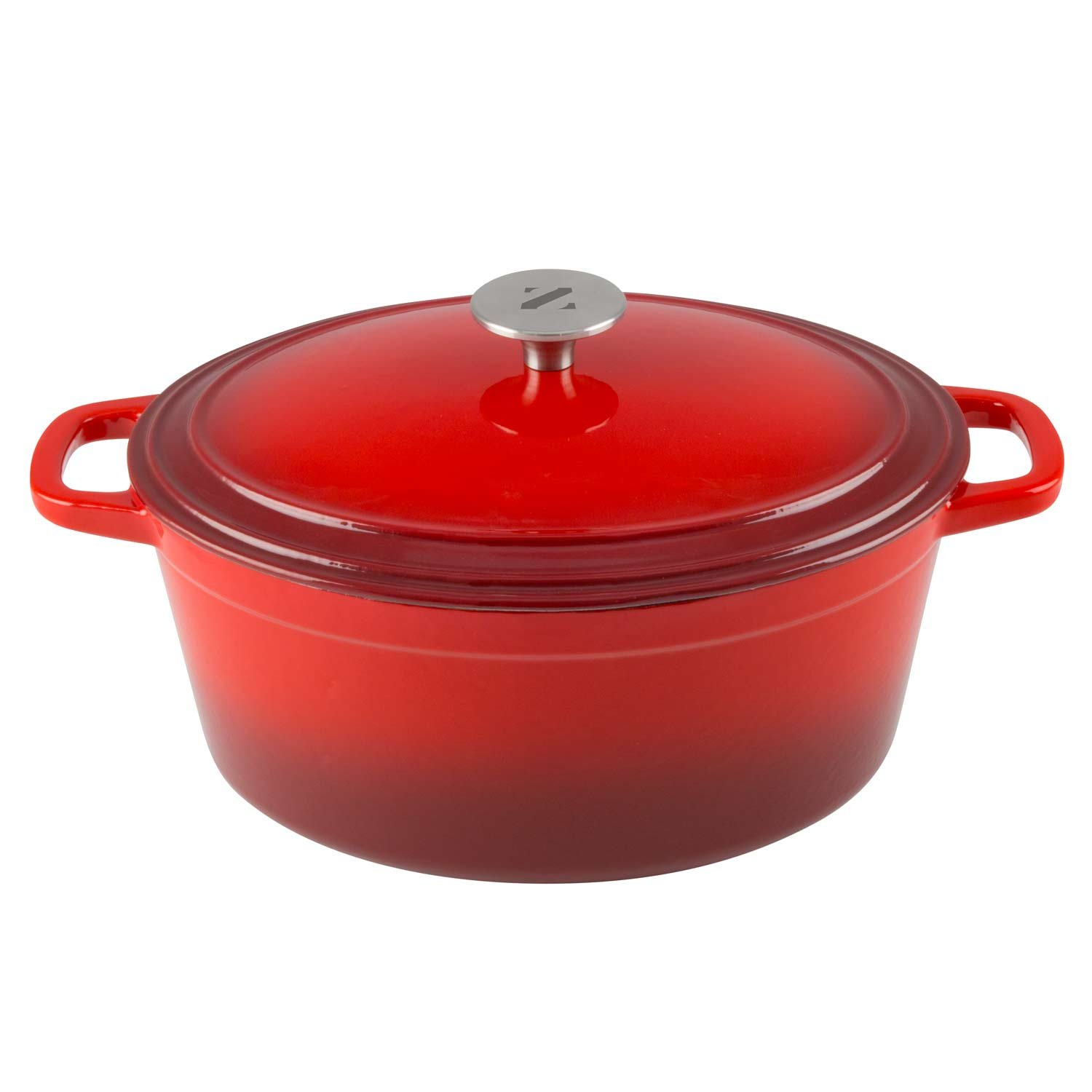 Zelancio 6 Quart Cast Iron Enamel Covered Oval Dutch Oven Cooking Dish with Skillet Lid (Cayenne Red) ZEL-DO-6-OVL-RED