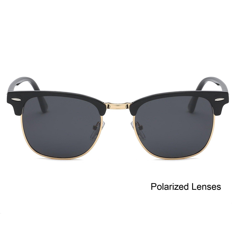 SOJOS Gafas de sol polarizadas sin montura Clubmaster Semi lente ...
